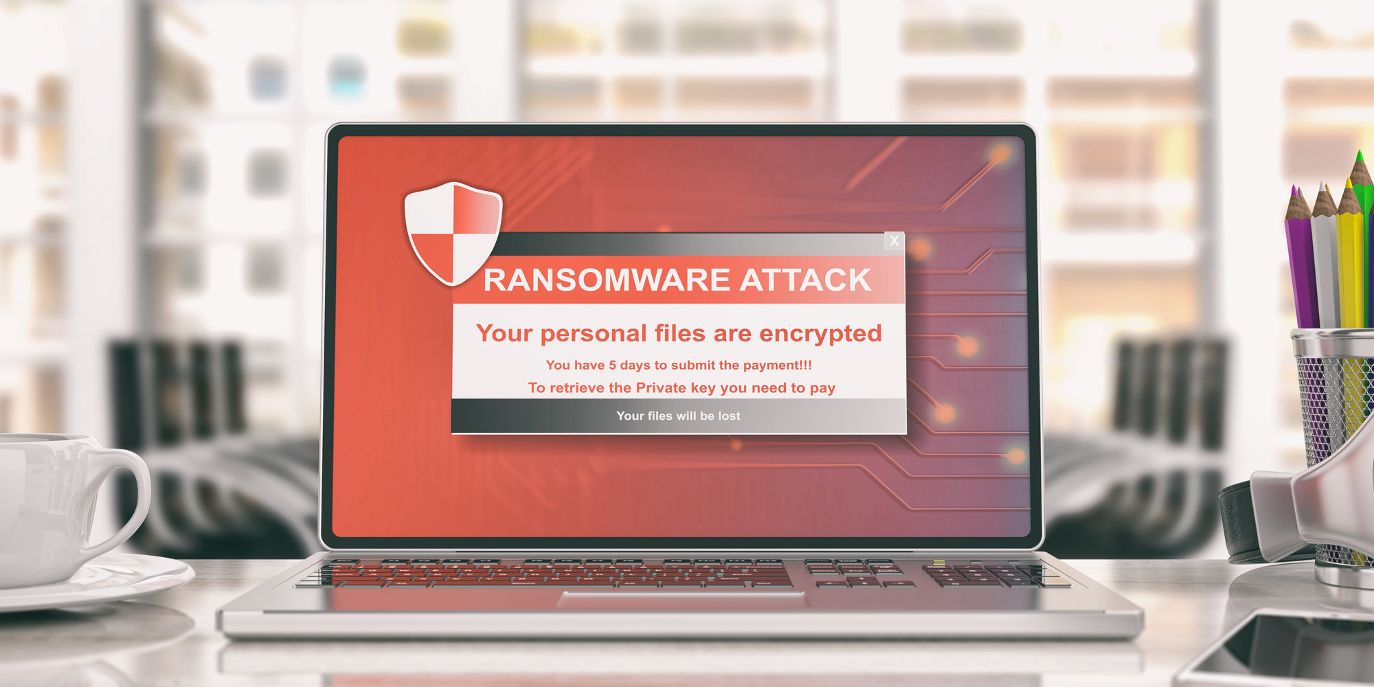 Ransomware alert on a laptop screen - office background. 3d illustration